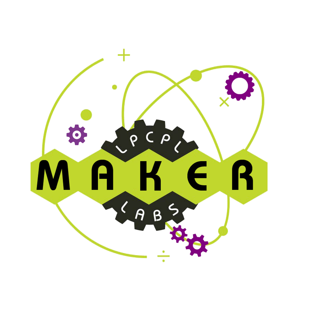 "LPCPL Maker Labs Logo, ""Fire up your Mind!"""