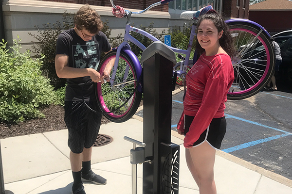 New Skateboard and Scooter Racks and Bike Repair Station