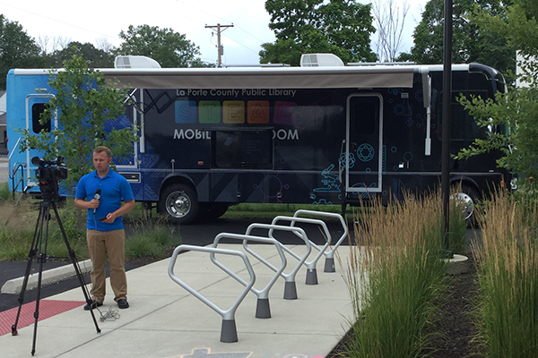 WSBT Reports on the New Mobile Classroom at a Recent STEAM Event