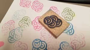 Stamping with linoleum block